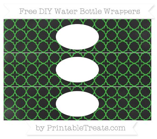Free Lime Green Quatrefoil Pattern Chalk Style DIY Water Bottle Wrappers