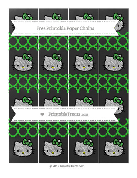 Free Lime Green Quatrefoil Pattern Chalk Style Hello Kitty Paper Chains