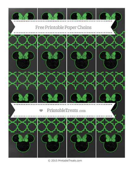 Free Lime Green Quatrefoil Pattern Chalk Style Minnie Mouse Paper Chains