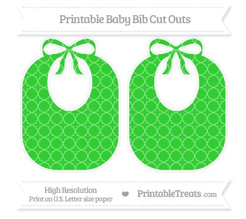 Free Lime Green Quatrefoil Pattern Large Baby Bib Cut Outs