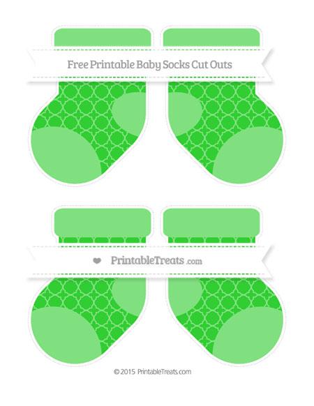 Free Lime Green Quatrefoil Pattern Medium Baby Socks Cut Outs