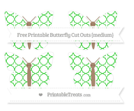 Free Lime Green Quatrefoil Pattern Medium Butterfly Cut Outs