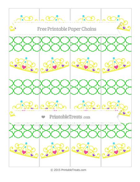 Free Lime Green Quatrefoil Pattern Princess Tiara Paper Chains