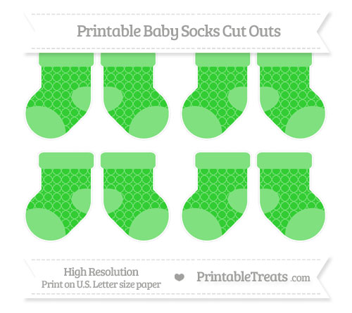 Free Lime Green Quatrefoil Pattern Small Baby Socks Cut Outs