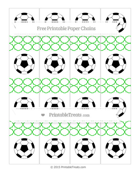 Free Lime Green Quatrefoil Pattern Soccer Paper Chains