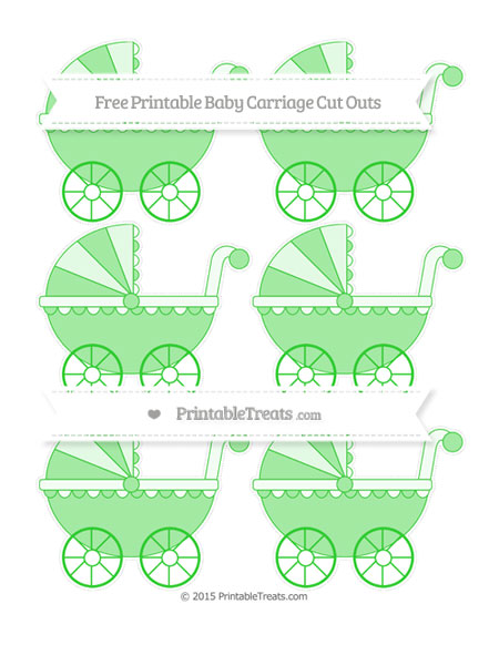 Free Lime Green Small Baby Carriage Cut Outs