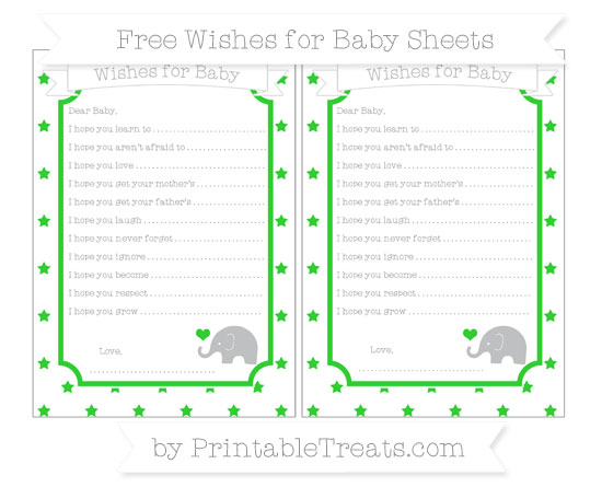 Free Lime Green Star Pattern Baby Elephant Wishes for Baby Sheets