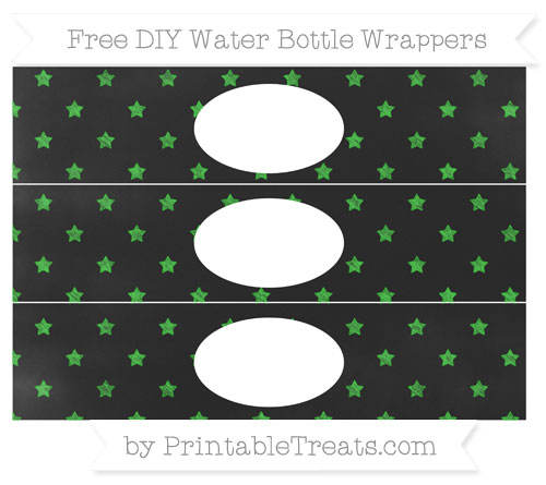 Free Lime Green Star Pattern Chalk Style DIY Water Bottle Wrappers