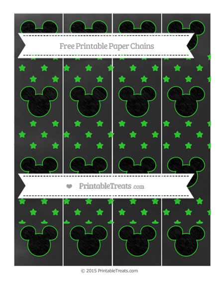 Free Lime Green Star Pattern Chalk Style Mickey Mouse Paper Chains