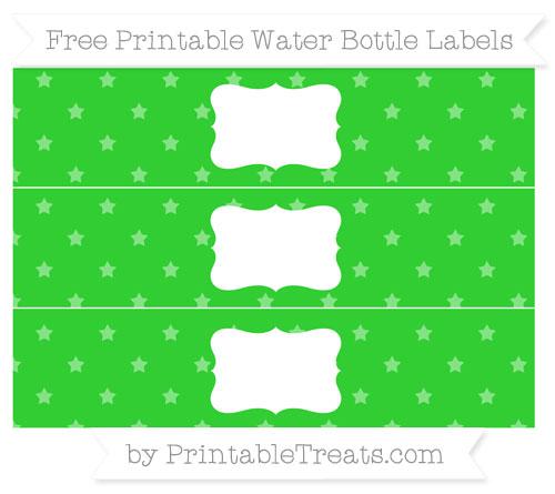 Free Lime Green Star Pattern Water Bottle Labels
