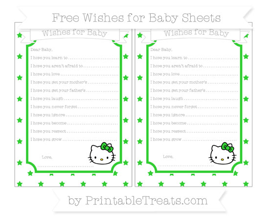 Free Lime Green Star Pattern Hello Kitty Wishes for Baby Sheets