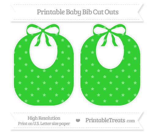 Free Lime Green Star Pattern Large Baby Bib Cut Outs