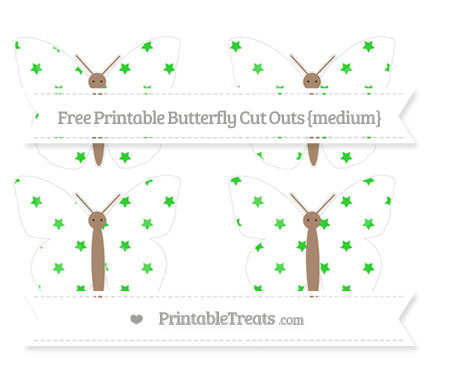 Free Lime Green Star Pattern Medium Butterfly Cut Outs