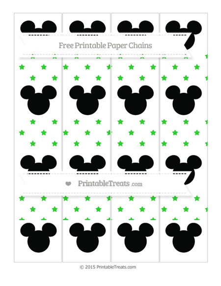 Free Lime Green Star Pattern Mickey Mouse Paper Chains