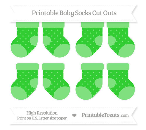 Free Lime Green Star Pattern Small Baby Socks Cut Outs