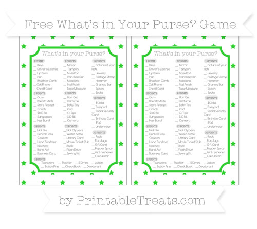 Free Lime Green Star Pattern What's in Your Purse Baby Shower Game