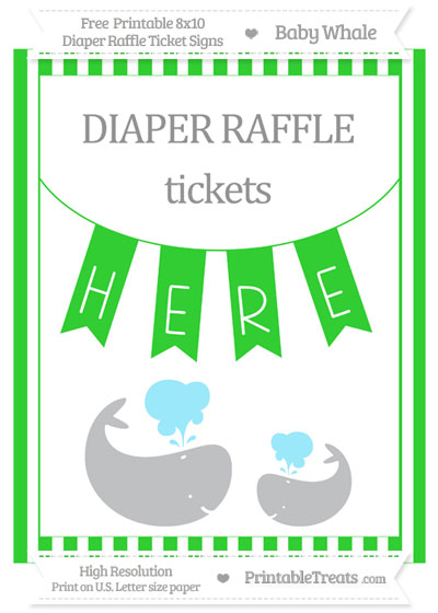 Free Lime Green Striped Baby Whale 8x10 Diaper Raffle Ticket Sign