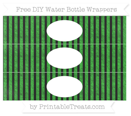 Free Lime Green Striped Chalk Style DIY Water Bottle Wrappers