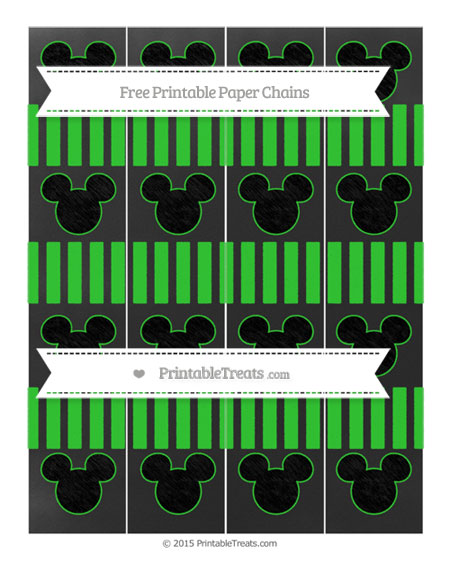 Free Lime Green Striped Chalk Style Mickey Mouse Paper Chains