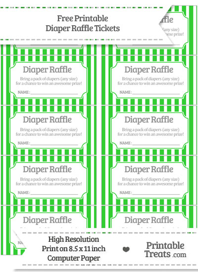 Free Lime Green Striped Diaper Raffle Tickets