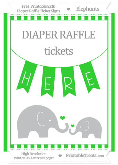 Free Lime Green Striped Elephant 8x10 Diaper Raffle Ticket Sign
