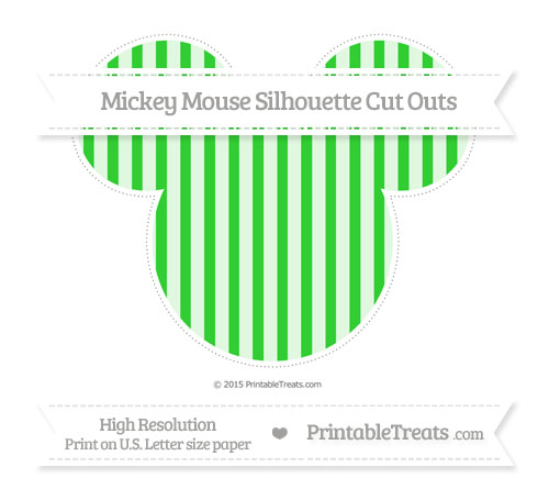 Free Lime Green Striped Extra Large Mickey Mouse Silhouette Cut Outs