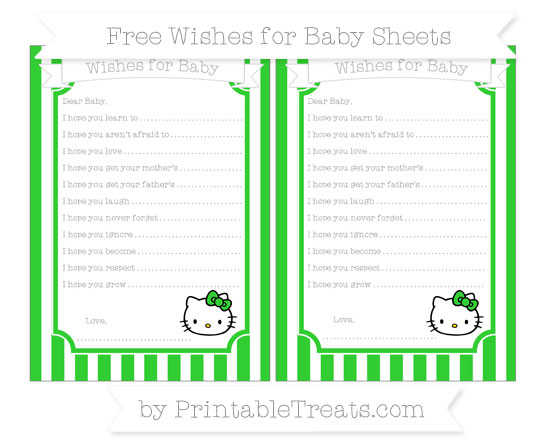 Free Lime Green Striped Hello Kitty Wishes for Baby Sheets