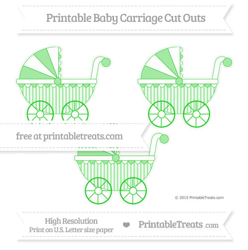 Free Lime Green Striped Medium Baby Carriage Cut Outs