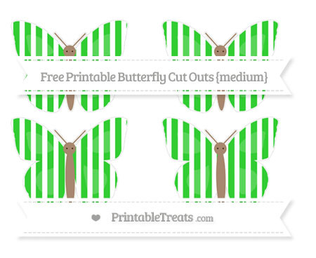 Free Lime Green Striped Medium Butterfly Cut Outs
