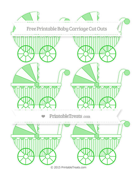 Free Lime Green Striped Small Baby Carriage Cut Outs