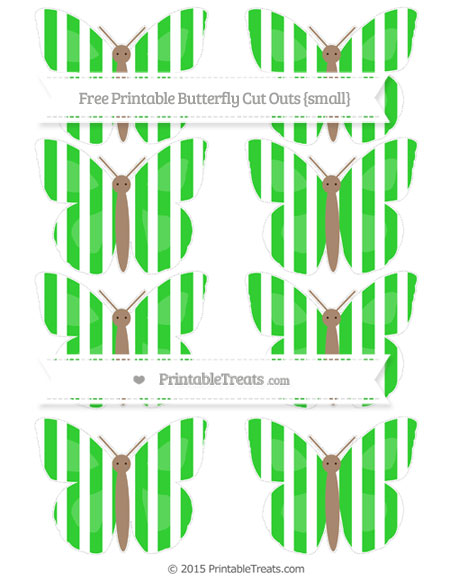 Free Lime Green Striped Small Butterfly Cut Outs