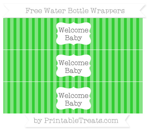 Free Lime Green Striped Welcome Baby Water Bottle Wrappers