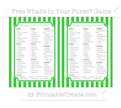 Free Lime Green Striped What's in Your Purse Baby Shower Game