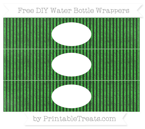 Free Lime Green Thin Striped Pattern Chalk Style DIY Water Bottle Wrappers