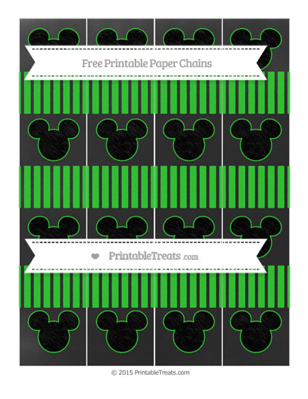 Free Lime Green Thin Striped Pattern Chalk Style Mickey Mouse Paper Chains
