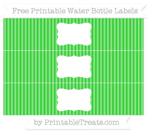 Free Lime Green Thin Striped Pattern Water Bottle Labels