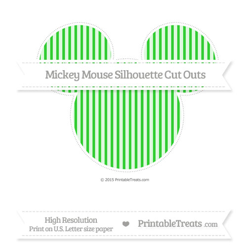 Free Lime Green Thin Striped Pattern Extra Large Mickey Mouse Silhouette Cut Outs