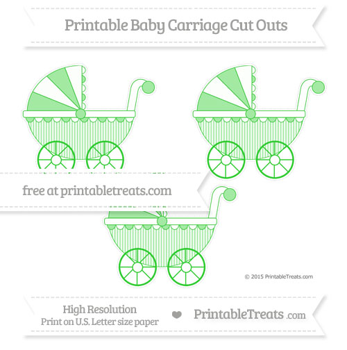 Free Lime Green Thin Striped Pattern Medium Baby Carriage Cut Outs