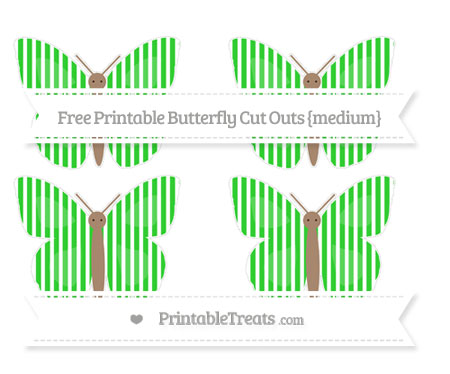 Free Lime Green Thin Striped Pattern Medium Butterfly Cut Outs