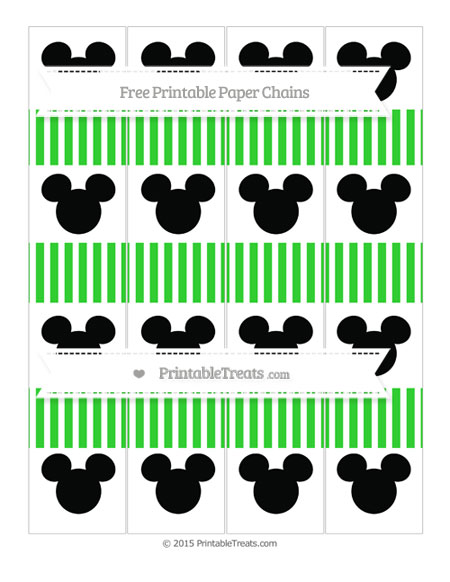 Free Lime Green Thin Striped Pattern Mickey Mouse Paper Chains