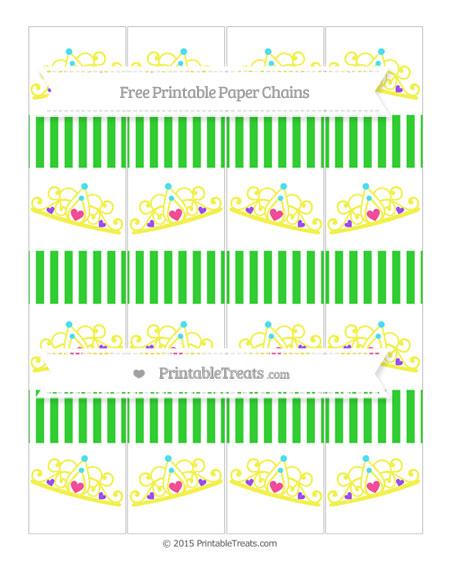 Free Lime Green Thin Striped Pattern Princess Tiara Paper Chains
