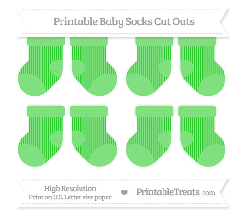 Free Lime Green Thin Striped Pattern Small Baby Socks Cut Outs