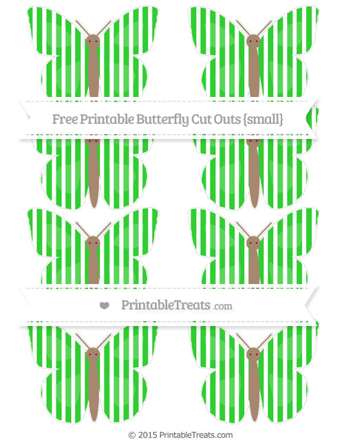 Free Lime Green Thin Striped Pattern Small Butterfly Cut Outs