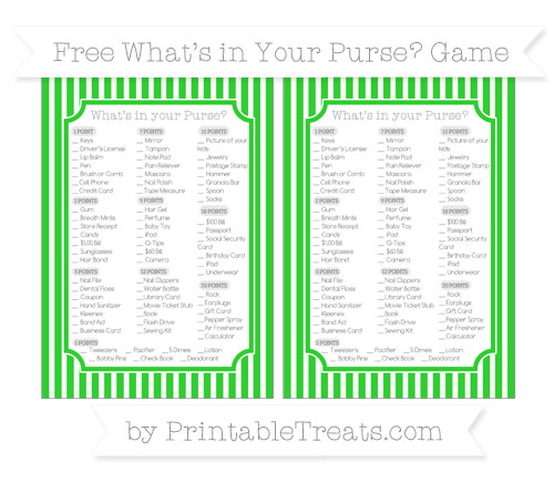 Free Lime Green Thin Striped Pattern What's in Your Purse Baby Shower Game