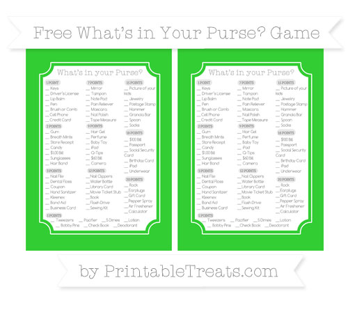 Free Lime Green What's in Your Purse Baby Shower Game