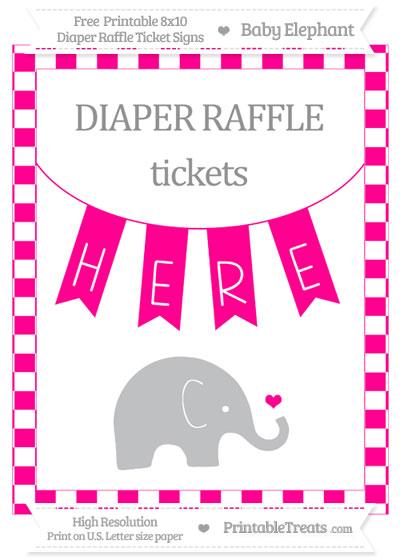 Free Magenta Checker Pattern Baby Elephant 8x10 Diaper Raffle Ticket Sign