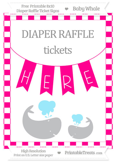 Free Magenta Checker Pattern Baby Whale 8x10 Diaper Raffle Ticket Sign