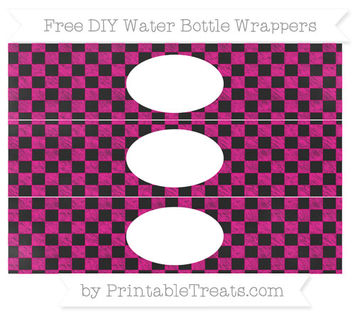 Free Magenta Checker Pattern Chalk Style DIY Water Bottle Wrappers