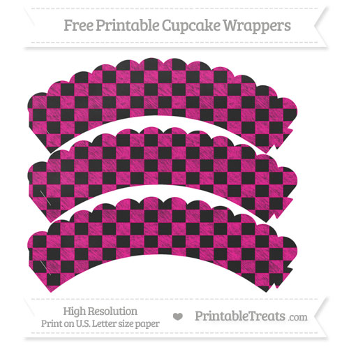 Free Magenta Checker Pattern Chalk Style Scalloped Cupcake Wrappers