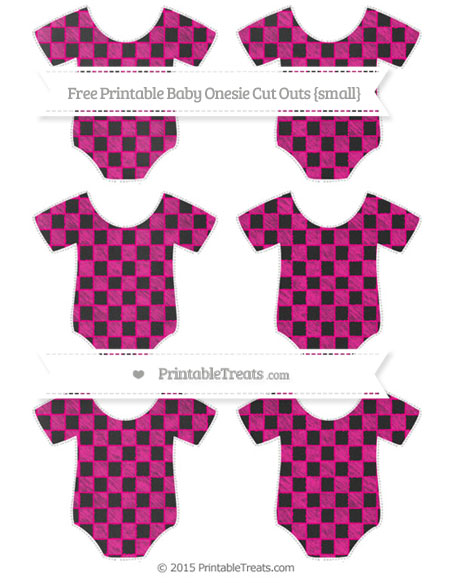 Free Magenta Checker Pattern Chalk Style Small Baby Onesie Cut Outs
